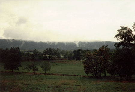 View of Little North Mountain from Boehm Cemetery (after a summer thunderstorm, August, 1994).