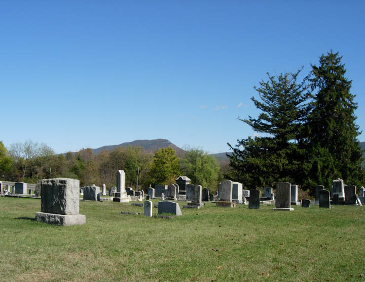 View from Cedar Grove Cemetery with Seven Mile Mountain in the background to the left